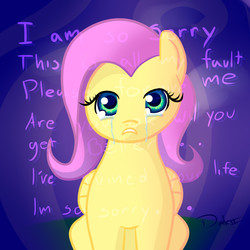 Size: 1800x1800 | Tagged: safe, fluttershy, crying, depressed, disembodied thoughts, purple, sad, solo, sorry