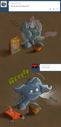 Size: 1280x2646   Tagged: safe, artist:fritzybeat, trixie, pony, unicorn, ask, askfillytrixie, cereal, comic, female, filly, mare, puffy cheeks, solo, spit take, tumblr, younger