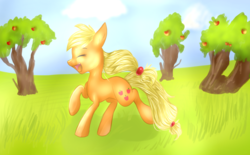 Size: 1024x634 | Tagged: safe, artist:rflzqt, applejack, apple, happy, hatless, missing accessory, solo, tree