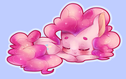 Size: 812x512   Tagged: dead source, safe, artist:siukii, pinkie pie, beanbrows, blue background, blushing, cute, diapinkes, ear fluff, eyebrows, eyes closed, simple background, sleeping, solo, sparkles
