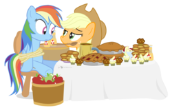 Size: 1075x688   Tagged: safe, artist:dm29, applejack, rainbow dash, earth pony, pegasus, pony, apple, apple fritter (food), apple juice, apple pie, bondage, bound wings, chair, cupcake, duo, feederjack, feeding, food, force feeding, hilarious in hindsight, mouth hold, pie, rope, simple background, this will end in weight gain, transparent background