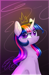 Size: 889x1345   Tagged: safe, artist:snowsky-s, twilight sparkle, alicorn, pony, abstract background, chest fluff, ear fluff, ethereal crown, ethereal wings, female, floating crown, floating wings, mare, solo, twilight sparkle (alicorn), wings