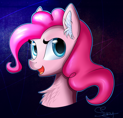 Size: 1844x1769   Tagged: safe, artist:snowsky-s, pinkie pie, bust, chest fluff, ear fluff, solo