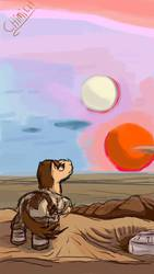 Size: 540x960 | Tagged: safe, artist:chiimich, pony, a new hope, binary sunset, crossover, luke skywalker, ponified, star wars, tatooine