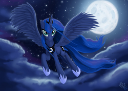 Size: 1920x1357 | Tagged: safe, artist:fidzfox, princess luna, alicorn, pony, cloud, female, flying, full moon, looking at you, mare, moon, night, sky, solo, spread wings, starry night, stars, wings