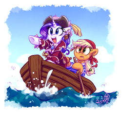 Size: 950x900 | Tagged: safe, artist:whitediamonds, applejack, rarity, earth pony, pony, unicorn, boat, clothes, ear piercing, earring, female, hat, international talk like a pirate day, jewelry, lesbian, mare, open mouth, piercing, pirate, rarijack, rarijack daily, rowboat, shipping, smiling, sword, talk like a pirate day