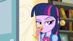 Size: 1280x720   Tagged: safe, artist:dtkraus, edit, screencap, applejack, twilight sparkle, pony, equestria girls, appletini, holding a pony, licking, micro, pocket pony, wat