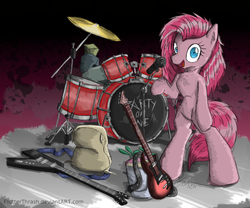 Size: 1000x832 | Tagged: safe, artist:flutterthrash, pinkie pie, semi-anthro, party of one, heavy metal, pinkamena diane pie, punkamena, punkie pie