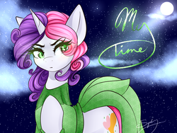 Size: 1280x960 | Tagged: safe, artist:sugarberry, sweetie belle, clothes, dress, female, moon, older, solo, stars