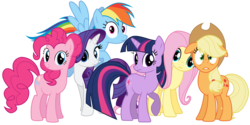 Size: 8000x4000 | Tagged: absurd res, applejack, artist:tomfraggle, fluttershy, mane six, pinkie pie, rainbow dash, rarity, safe, simple background, transparent background, twilight sparkle, vector