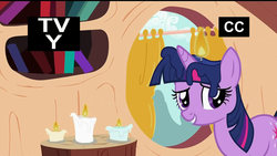 Size: 1280x720   Tagged: safe, artist:dtkraus, edit, edited screencap, screencap, twilight sparkle, candle, fire, goddammit kraus, looking at you, on fire, smiling, tv rating, tv-y, wat