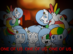 Size: 1280x960 | Tagged: safe, artist:10art1, oc, oc only, oc:google chrome, apocalypse, assimilation, browser ponies, eyes closed, fire, freaks, google chrome, grin, join the herd, looking at you, multeity, nightmare fuel, nuclear weapon, one of us, open mouth, smiling, welcome to the herd, wide eyes