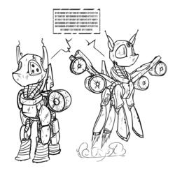 Size: 1805x1767   Tagged: safe, artist:ralek, oc, oc only, oc:peg-e, oc:pes-e, fallout equestria, /foe/, /mlp/, binary, enclave, flight, monochrome, robots