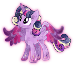 Size: 3349x3000 | Tagged: safe, artist:theshadowstone, twilight sparkle, alicorn, crystal pony, pony, crystal alicorn, crystal twilight, crystallized, female, looking up, mare, rainbow power, simple background, solo, this isn't even my final form, transparent background, twilight sparkle (alicorn), vector