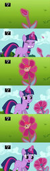 Size: 1920x6480   Tagged: safe, artist:dtkraus, edit, screencap, apple bloom, twilight sparkle, magic duel, :o, abomination, adorabloom, comic, confused, cute, flower, goddammit kraus, grimcute, magic, not salmon, open mouth, pun, scared, smiling, species swap, visual pun, wat, wtf