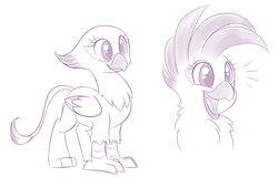 Size: 1055x675   Tagged: safe, artist:jessy, oc, oc only, cockatoo, griffon, hybrid, parrot, parrot griffon, crest, cute, griffon oc, happy, open beak, open mouth, pomf, simple background, smiling, solo, white background