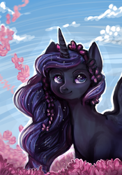 Size: 700x1000 | Tagged: artist:temary03, daytime, flower, flower blossom, flower in hair, portrait, princess luna, safe, sky, solo