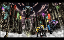 Size: 2700x1718 | Tagged: safe, artist:nukechaser, firefly, surprise, oc, oc only, pegasus, pony, fallout equestria, fallout equestria: storm chasers, armor, art deco, city, cityscape, cyberpunk, enclave, grand pegasus enclave, hurricane, powered exoskeleton, stealth suit