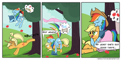 Size: 1024x507   Tagged: dead source, safe, artist:rainbow-hooves, applejack, rainbow dash, earth pony, pegasus, pony, apple, apple tree, applebucking, appledash, applejack mid tree-buck facing the left with 3 apples falling down, applejack mid tree-buck with 3 apples falling down, applejack's hat, blanket, bucking, comic, cowboy hat, cute, dashabetes, ear bite, falling, female, food, hat, lesbian, mare, nibbling, nom, not again, onomatopoeia, pillow, shipping, sleeping, snoring, sound effects, tree, z, zzz