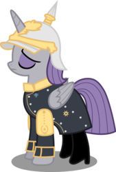 Size: 5570x8222 | Tagged: absurd res, alicorn, alicornified, artist:atomicmillennial, boots, clothes, coat, eyes closed, helmet, kaiser maud, maudicorn, maud pie, otto von bismarck, pickelhaube, pony, princess maud pie, race swap, safe, simple background, solo, transparent background, uniform, vector