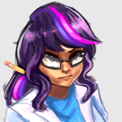Size: 3000x3000   Tagged: safe, artist:checkerboardazn, sci-twi, twilight sparkle, human, equestria girls, rainbow rocks, clothes, female, frown, glare, glasses, humanized, lab coat, pencil, portrait, scientist, solo, that was fast