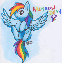 Size: 559x570 | Tagged: safe, artist:mahoxyshoujo, rainbow dash, solo, traditional art, underhoof