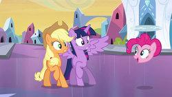 Size: 1280x720   Tagged: safe, artist:dtkraus, edit, applejack, pinkie pie, twilight sparkle, equestria girls, disembodied head, goddammit kraus, headpool, helicopter, twilight sparkle (alicorn), wat