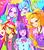 Size: 700x800   Tagged: safe, artist:misochikin, adagio dazzle, aria blaze, sonata dusk, sunset shimmer, twilight sparkle, equestria girls, rainbow rocks, japanese, pixiv