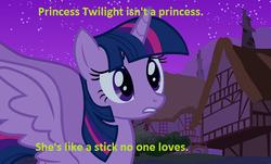 Size: 598x360 | Tagged: safe, twilight sparkle, alicorn, pony, caption, depressing, drug use, drugs, earthbound, female, kumatora, mare, mother, mother 3, twilight sparkle (alicorn), twilybuse