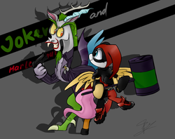 Size: 1053x835 | Tagged: safe, artist:supermare, discord, fluttershy, clothes, costume, dc comics, discoshy, female, flying, grin, gun, hammer, harley quinn, jokercord, male, pistol, shipping, shoes, smiling, spread wings, straight, the joker, weapon