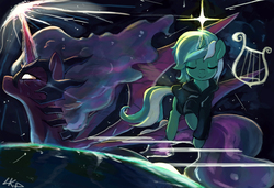 Size: 3000x2054 | Tagged: safe, artist:paradoxbroken, lyra heartstrings, oc, oc:princess aria, alicorn, unicorn, fanfic:background pony, alicorn oc, clothes, earth, eyes closed, fanfic art, hoodie, lyre, musical instrument