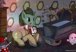 Size: 1500x1024 | Tagged: adipose, artist:hikariviny, crib, crib mobile, dalek, doctor who, doctor whooves, oc, oc:sweet lullaby, offspring, parent:doctor whooves, parent:roseluck, parents:doctorrose, safe, time turner, weeping angel