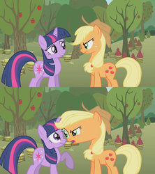 Size: 1280x1440 | Tagged: safe, artist:dtkraus, edit, screencap, applejack, twilight sparkle, angry, are you frustrated?, scared, stretching, wat