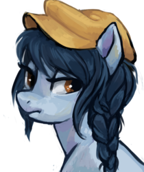 Size: 859x1024   Tagged: safe, artist:johling, oc, oc only, earth pony, pony, braid, hat, portrait, simple background, solo, transparent background