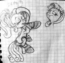 Size: 600x590 | Tagged: safe, artist:colossalstinker, pinkie pie, rainbow dash, clothes, eyes closed, g3.5, graph paper, lidded eyes, monochrome, rainbow dash always dresses in style, sitting, sketch, socks, stockings, stool, tongue out, traditional art, watermark