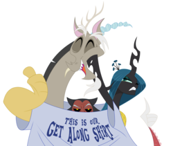 Size: 1000x843   Tagged: safe, artist:peachiekeenie, artist:tarajenkins, discord, lord tirek, queen chrysalis, angry, clothes, cute, cutealis, discute, eyes closed, gritted teeth, hilarious in hindsight, open mouth, patreon, shirt, simple background, soon, t-shirt, thumbs up, tirebetes, transparent background, unamused