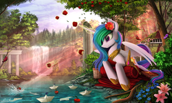 Size: 2250x1350   Tagged: safe, artist:yakovlev-vad, princess celestia, alicorn, butterfly, pony, apple, book, crepuscular rays, detailed, female, flag, flower, flower in hair, forest, implied princess luna, jewelry, levitation, magic, mare, necklace, paper boat, prone, river, scenery, scenery porn, solo, water, waterfall