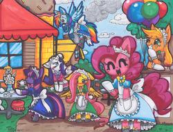 Size: 3299x2514 | Tagged: safe, artist:mahoxyshoujo, applejack, derpy hooves, fluttershy, pinkie pie, rainbow dash, rarity, twilight sparkle, pony, balloon, bipedal, clothes, dress, mane six, traditional art