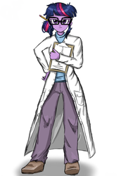 Size: 1224x1776   Tagged: safe, artist:robsa990, sci-twi, twilight sparkle, equestria girls, rainbow rocks, clipboard, clothes, female, glasses, lab coat, pencil, simple background, solo, white background