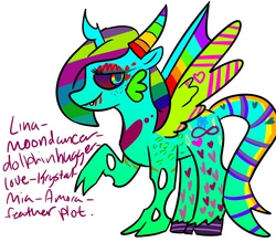 Size: 1280x1120   Tagged: safe, oc, oc only, oc:lina-moondancer-dolphinhugger-love-krystal-mia-amora-feather plot, alicorn, changeling, pony, vampire, alicorn oc, cloven hooves, colored wings, cutie pox, donut steel, freckles, garish, gills, horns, joke oc, multicolored wings, rainbow eyes, rainbow hair, rainbow wings, simple background, solo, stripes, white background