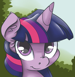 Size: 2392x2460 | Tagged: safe, artist:mistydash, twilight sparkle, female, looking at you, portrait, puppy dog eyes, shy, smiling, solo, three quarter view