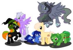 Size: 1675x1150 | Tagged: alicorn, alicorn oc, artist:huski-the-fox, bow, earth pony, female, group, hat, mare, oc, oc:angel strike, oc:butter pecan, oc:butterscotch pecanne, oc:oceanic, oc only, oc:princess arktikos nebulae, oc:princess nebula, oc:soothing herb, oc:spooky pumpkin, pecan, pegasus, pony, princess, pumpkin, safe, simple background, transparent background, unicorn, vector, wink, witch hat
