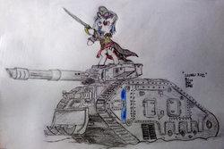 Size: 1024x684 | Tagged: safe, artist:blueboxdave, dj pon-3, vinyl scratch, commissar, drive me closer, imperial guard, lascannon, leman russ, leman russ vanquisher, power sword, sword, tank (vehicle), warhammer (game), warhammer 40k