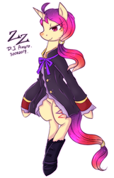 Size: 485x753 | Tagged: safe, artist:divided-s, oc, oc only, oc:zz, pony, bipedal, clothes, solo