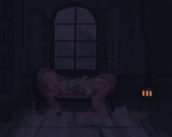 Size: 1280x1024 | Tagged: safe, artist:celestiawept, fluttershy, scootaloo, pegasus, pony, couch, dark, duo, eyes closed, fluttershy's cottage, interior, night, potbelly stove, rain, scootalove, sleeping, stove, window