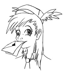Size: 1216x1388 | Tagged: safe, artist:chrisboe4ever, derpy hooves, human, hat, humanized, letter, monochrome, mouth hold, simple background, solo, white background