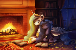 Size: 3000x2000 | Tagged: alicorn, artist:anticularpony, book, bookshelf, cute, eyes closed, female, fire, fireplace, floppy ears, hug, lunabetes, mare, night, pony, princess celestia, princess luna, prone, rug, safe, scenery, shooting star, sisters, smiling, stars, window, wing blanket, winghug