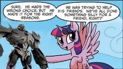Size: 661x370   Tagged: safe, edit, twilight sparkle, alicorn, pony, idw, spoiler:comic, spoiler:comic23, female, mare, megatron, transformers, transformers prime, twilight justifies evil meme, twilight sparkle (alicorn)