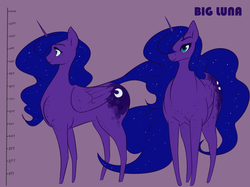 Size: 1667x1250 | Tagged: artist:nivrozs, freckles, giant pony, hair over one eye, macro, missing accessory, pony, princess luna, reference sheet, safe, size chart, size difference, smiling, solo