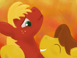 Size: 1280x960 | Tagged: safe, artist:writtenwaiver, big macintosh, caramel, earth pony, pony, caramac, gay, glomp, male, shipping, smiling, stallion